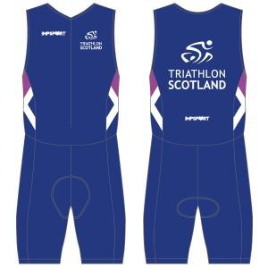 Triathlon Scotland Men's Tri Suit - Front Zip -  With Mesh Pockets