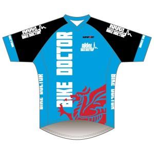 Bike Doctor - Blue Design Short Sleeve Coolcore T-Shirt V Neck