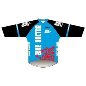 Bike Doctor - Blue Design Long Sleeve Coolcore T-Shirt V Neck