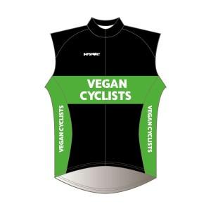 Vegan Cyclists Rain Gilet - Full Back with Pockets