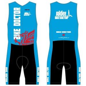 Bike Doctor - Blue Design Men's Tri Suit - no Pockets