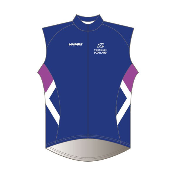 Triathlon Scotland Rain Gilet - Full Back with Pockets