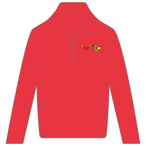 Washingborough Tennis Club Adult Zip Neck Sweatshirt - Red