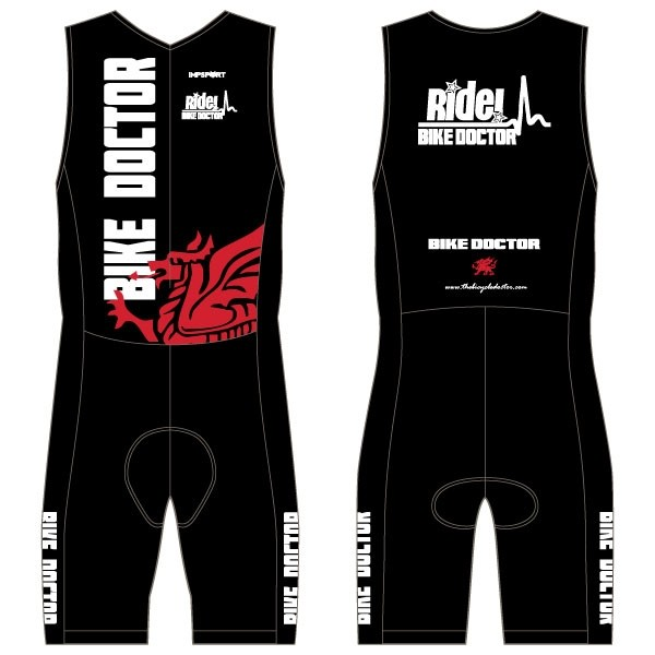 Bike Doctor - Black Design Men's Tri Suit - no Pockets