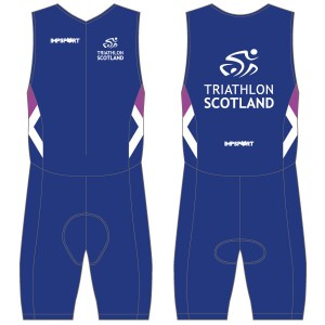 Triathlon Scotland Men's Tri Suit - Front Zip -  With Mesh Pockets
