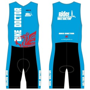 Bike Doctor - Blue Design Men's Tri Suit - no Pockets