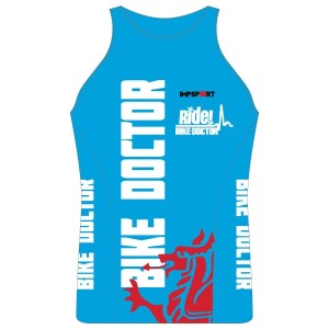 Bike Doctor - Blue Design Ladies Tri Top with Pocket